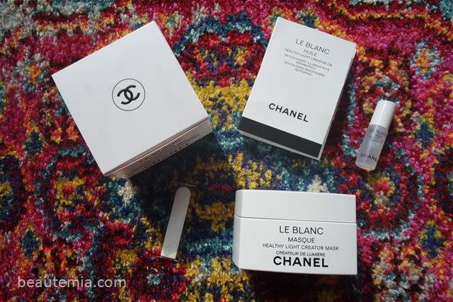Chanel hydra beauty micro serum, Chanel Huile de Jasmin, Chanel face oil, Chanel Revitalizing Facial oil with Jasmine extract, Chanel Le Blanc serum, Chanel Le Blanc Mask & Chanel sublimage masque